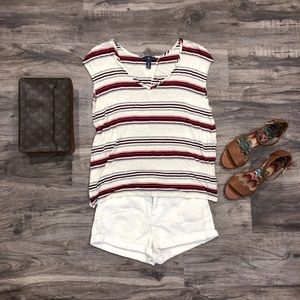 GAP Stripe V Neck Slit Open Back Tee Shirt